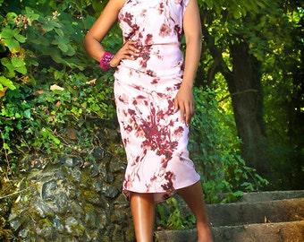 Pink & Plum Blossom Floral Print Ruched One Shoulder Summer Dress UK Size 10 / US 6