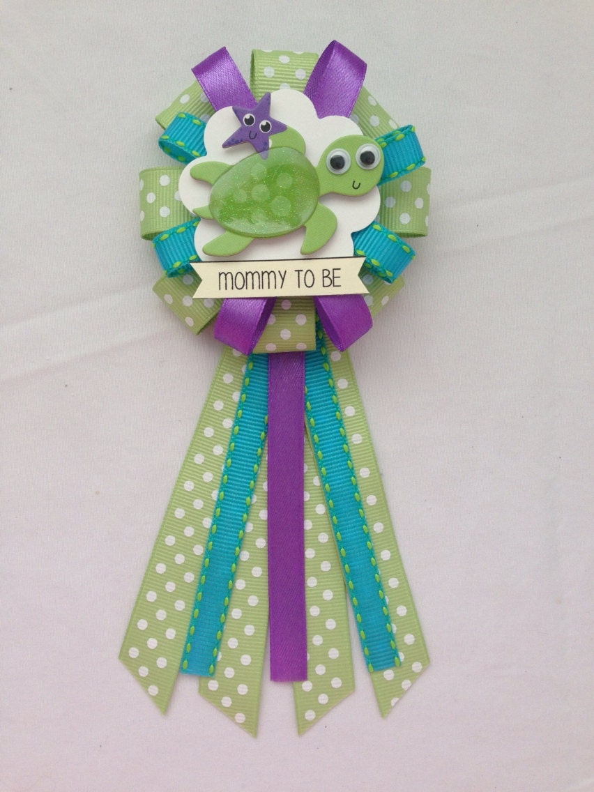 mommy to be ribbon corsage for baby shower gender neutral