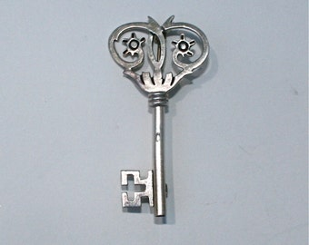 Vintage, Sterling Silver, Key, Brooch, Pin