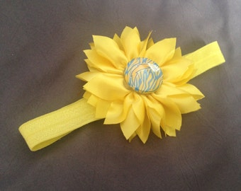 San Diego Chargers Headband for Baby with Yellow Flower