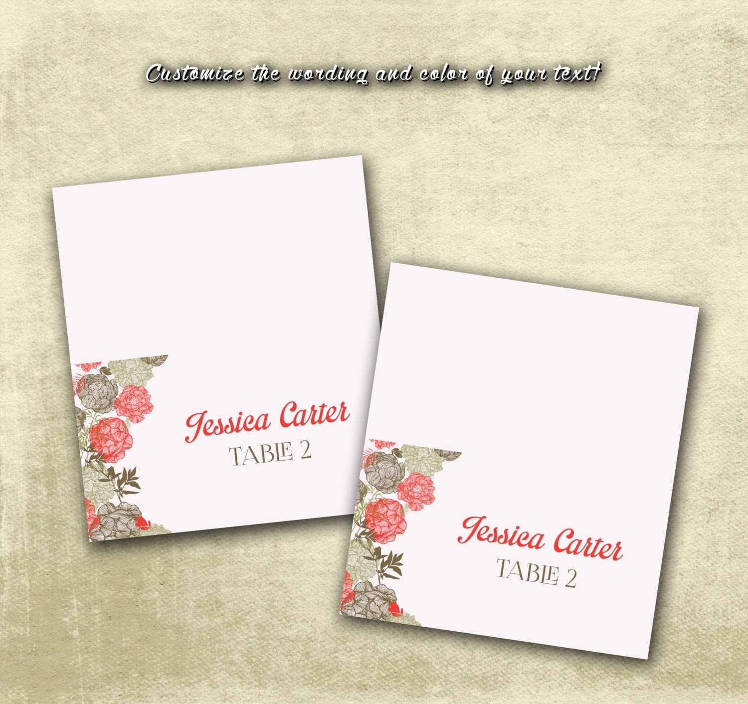 Diy printable wedding name place cards pdf by for Wedding place name cards