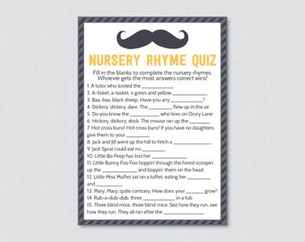 Mustache Baby Shower Nursery Rhyme Quiz Baby Shower Game in Yellow and Gray - Printable Instant Download - Mustache Baby Game - 0002-Y