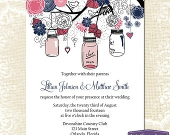 Mason Jar Wedding Invitation - Pink and Navy Blue Mason Jar Wedding Invite - Rustic Wedding Invitation Wedding - 6024 PRINTABLE