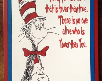 "Cat in the Hat ""Today you are You!"" inspired by Dr. Seuss: 22"" x 28"""