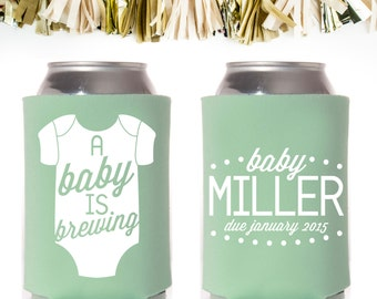 Onesie A Baby is Brewing Baby Shower Favors: Custom and Personalized Can Coolers