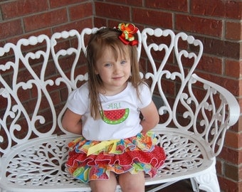 Summer Watermelon Outfit! Baby/Toddler/Girls 3-Tier Ruffle Skirt with Watermelon Appliqued Bodysuit and Bow!/Watermelon Birthday Outfit