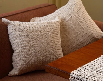 Set of 2 Vintage Design Cushions- HANDMADE CROCHET-  Cotton - Crochet Cushion Cover, Throw Pillow, Pillow Cover, Decorative Pillow