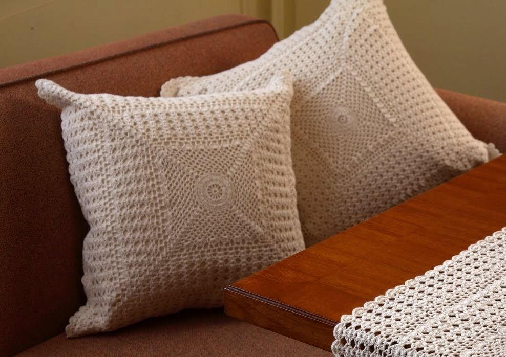Set of 2 Vintage Design Cushions HANDMADE CROCHET Cotton