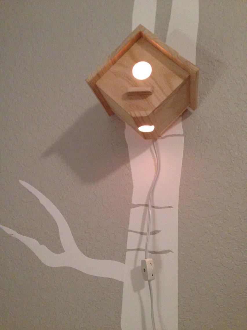 Bird house night light woodland nursery woodpecker 39 s - Birdhouse nightlight ...