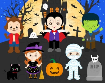 HALLOWEEN Digital Clipart, Halloween Clipart, Trick or Treat Clipart