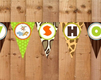 Wild Safari Baby Shower Banner- INSTANT DOWNLOAD - Printable Baby Shower Decorations