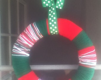Red, Green, & White Yarn Wrapped Wreath