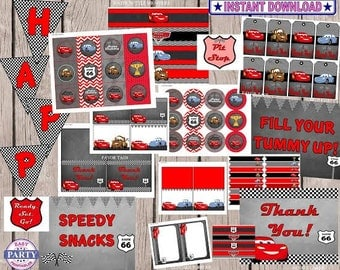Disney Cars Party Package, Instant download, save with this bundle, lightening Mcqueen, mator, sally, rdiator springs, cars, red and black