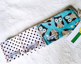 Baby Burp Cloths ~ Owls Hoo Hoo ~ Oliver Burps ~ set of 3 ~