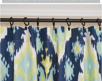 """PAIR of Peacock Curtain Panels Lime Green Navy Blue Curtains Trellis Curtains Ikat Drapes Chevron Curtains 63"""" 84"""" 96"""" Any Size"""