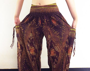 Harem Pants Women Yoga Pants Aladdin Pants Maxi Pants Boho Pants Gypsy Pants Rayon Genie Pant Hippy Pants Trouser Brown (TS44)