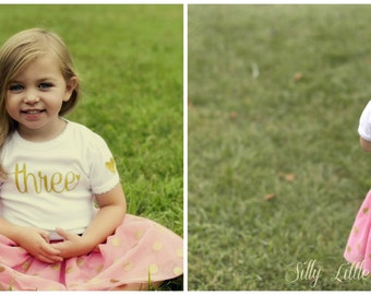 Girls Birthday Shirt with Monogram on back (Gold Glitter)