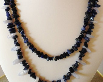 SALE - Blue Chalcedony & Sodalite Necklace Blue Necklace Multi Stranded Blue Necklace Gift for Her Sodalite Beaded Necklace