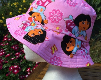 Dora Reversible Bucket Hat. Girls hat. Sun hat. Toddler Hat.
