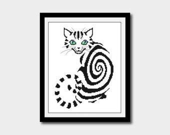 Smiling Cat Silhouette, Animal Silhouette Pattern, Cross Stitch Pattern, Silhouettes, PDF - PATTERN ONLY