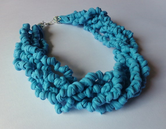 Tiffany blue fabric necklace
