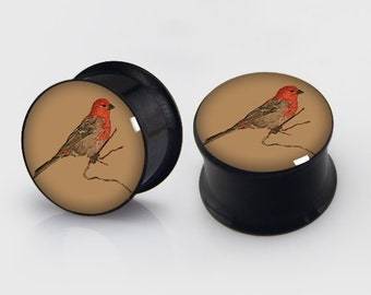 Vintage Birds  Screw Ear Plugs, Steel Resin,AliceFlesh Tunnels,Choose Size Image