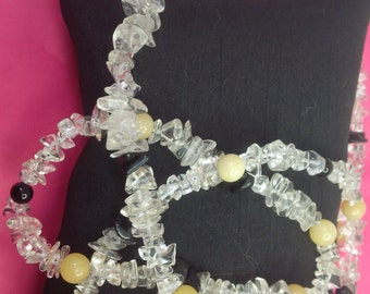"""String of Clear Rock Crystals with Black and Yellow Jade 37"""" (94cm)"""