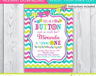 button invitation / cute as a button birthday / cute as a button birthday / cute as a button invitation / cute as button invite / INSTANT