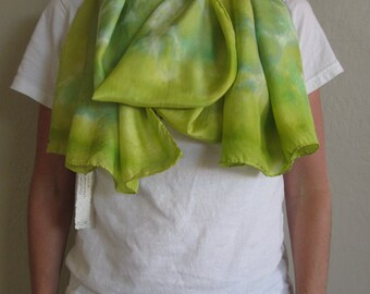"""Silk Scarf, 22""""x72"""", Paint Can Collection-Chartreuse/Greens"""