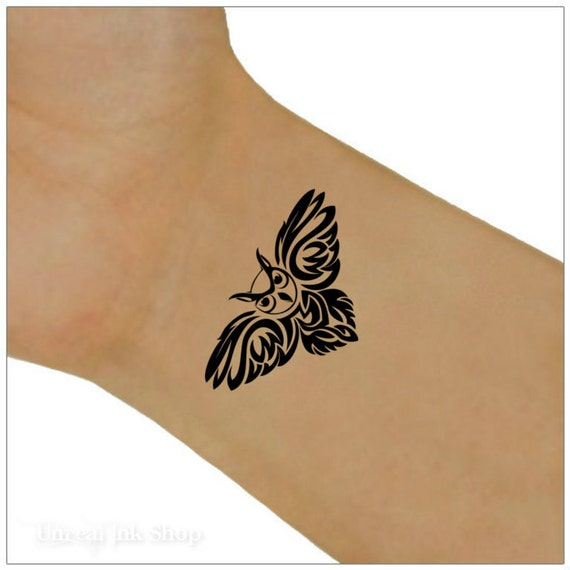 owl temporary tattoo 2 wrist tattoos