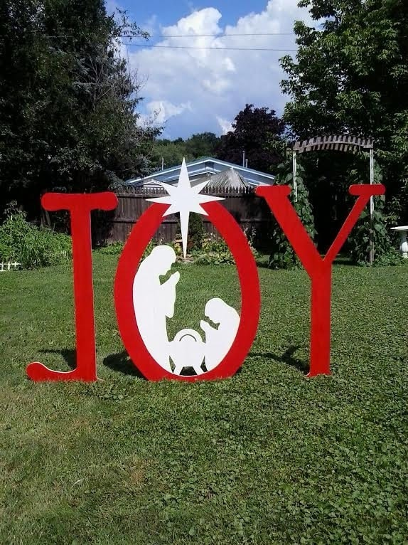 Christmas joy outdoor nativity sign outdoor wood yard art lawn for Christmas outdoor decoration patterns