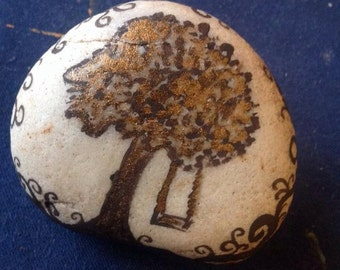 Beach rock..handpainted..from Mexico..shade tree scene..prayer rock..altar rock..mini art..paperweight...