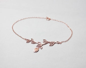 Rose Gold Branch Bracelet,Bridesmaid Bracelet,Bridesmaid Gift,Bride Jewelry,junior bridesmaid,flower girl gift,Olive Branch Bracelet,