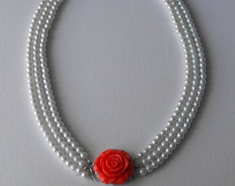 Glass Pearl 3 Strand Necklace with Rose Clasp  - Pearl Necklace   (BD-641)