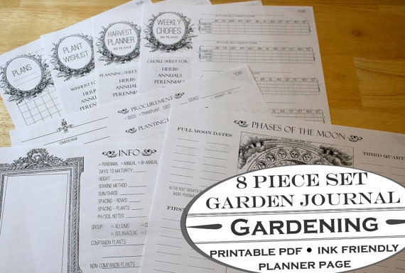 Delicate image with printable garden journal