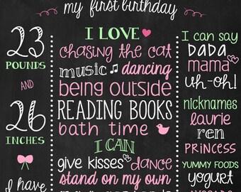 Watermelon Birthday Poster - Birthday Board - Chalkboard 1st Birthday Sign - Watermelon 1st birthday - Pink and Green Birthday