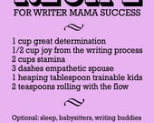 "Inspirational Print, Motivational Quote, Violet Pink Typography Art, ""Recipe For Writer Mama Success,"" Writing Poster Office Wall Decor"