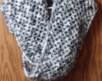 black and white crocheted scarf