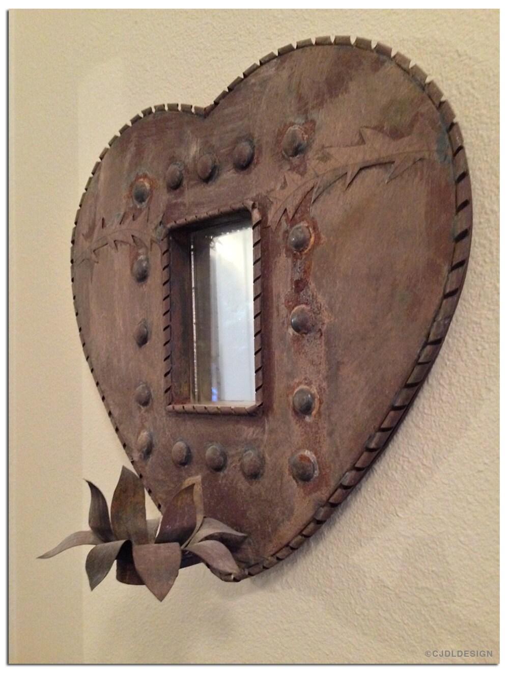 Antique Large Mexican Tin Frame Nicho Heart Mirror Folk Art