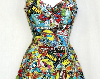 Marvel Avengers comic book dress.