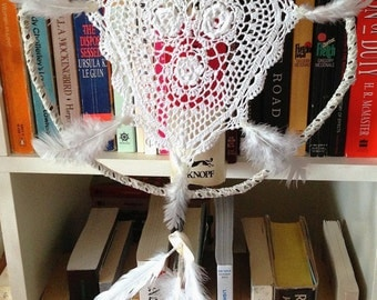 Doily & Feather dream catcher- medium size- MADE TO ORDER