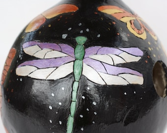 Black butterfly and dragonfly birdhouse gourd