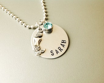 Silver Mermaid necklace personalized Mermaid jewelry swimmer jewelry hand stamped swimmer gift for teen girl Christmas jewelry Mermaid  gift