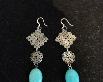 Silver and Turqoise vintage look  earrings