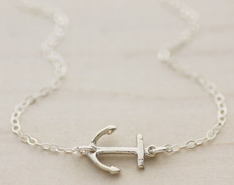 Anchor Necklace - Sterling Silver Sideways Anchor Necklace