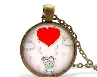 ON SALE Kawaii Drawing Art Necklace, Adorable Jewelry Necklace, Valentines Necklace, Cute Drawing Necklace, Love Necklace, Heart Necklace Pe