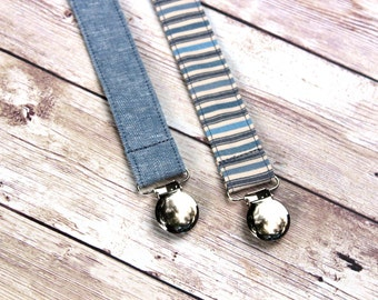 Denim/ Chambray Pacifier clip for baby, binky clip, paci clip,Baby Boy