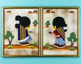 Vintage 1970s Indian Brother & Sister Handmade Felt Art