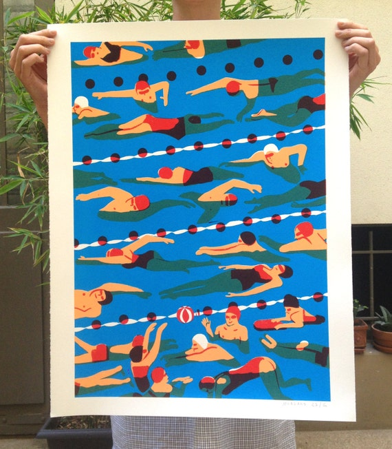 Poster / silk-screen crowd #02-La pool