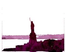 New York skyline art print Statue of liberty Purple Maroon NYC wall art hand Signed gift idea